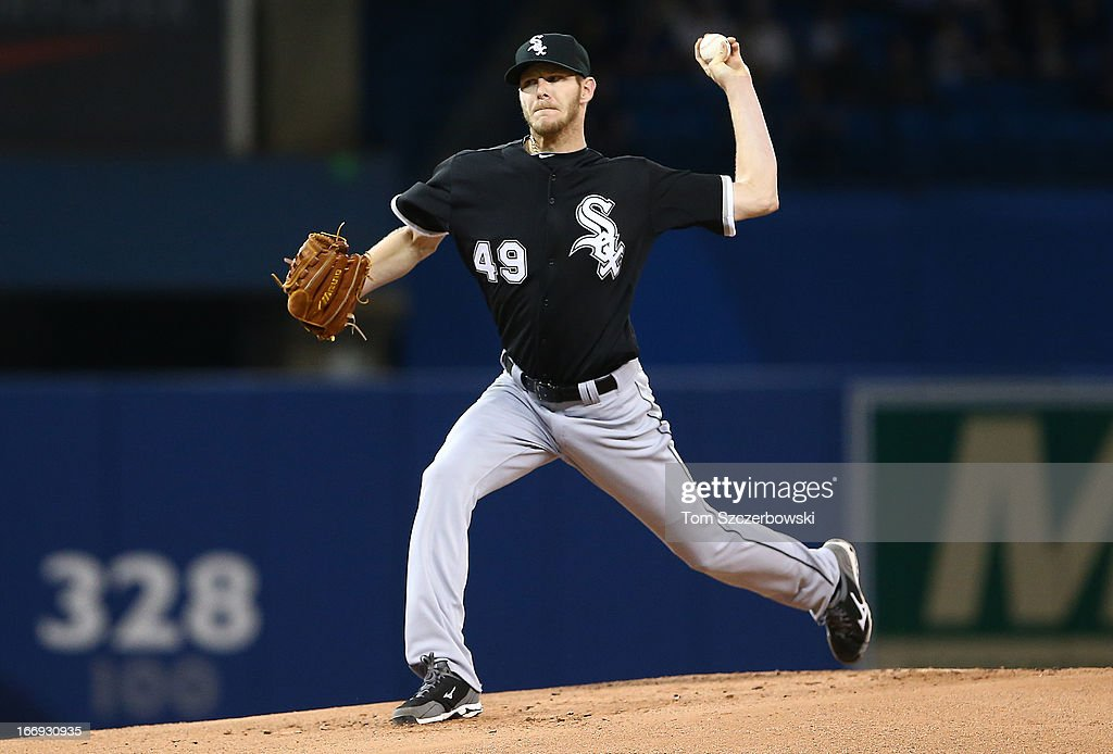 Chris Sale #49 of the Chicago White Sox delivers a pitch during MLB game action against the Toronto Blue Jays on April 18, 2013 at Rogers Centre in Toronto, Ontario, Canada.