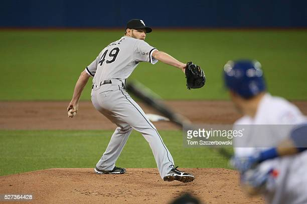 Chris Sale of the Chicago White Sox delivers a pitch in the first inning during MLB game action to Michael Saunders of the Toronto Blue Jays on April...