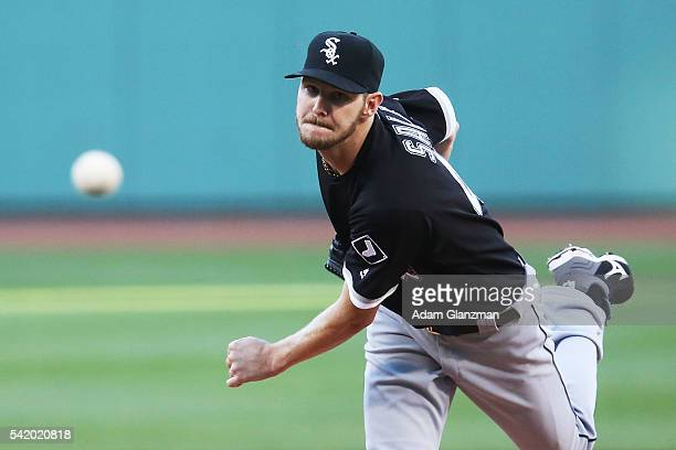 Chris Sale of the Chicago White Sox delivers in the first inning during the game against the Boston Red Sox at Fenway Park on June 21 2016 in Boston...