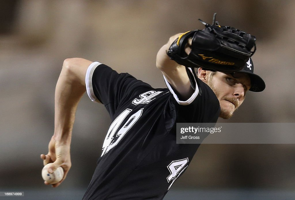Chris Sale #49 of the Chicago White Sox pitches against the Los Angeles Angels of Anaheim in the sixth inning at Angel Stadium of Anaheim on May 17, 2013 in Anaheim, California.