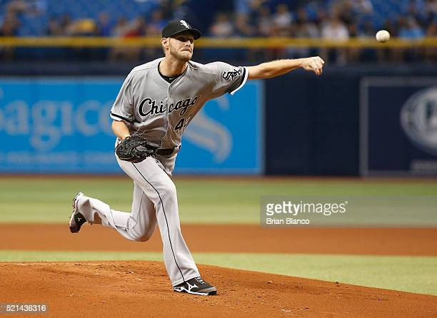 Chris Sale of the Chicago White Sox pitches during the first inning of a game against the Tampa Bay Rays on April 15 2016 at Tropicana Field in St...