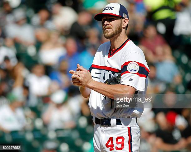 Chris Sale of the Chicago White Sox reacts after hitting Alcides Escobar of the Kansas City Royals with a pitch during the fifth inning at US...