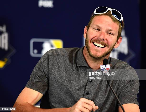 Chris Sale of the Chicago White Sox smiles as he speaks to media as he is introduced as the starting pitcher for the American League during Media...