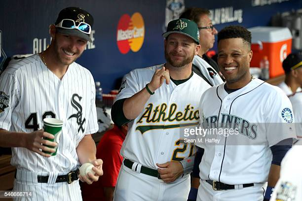 Chris Sale of the Chicago White Sox Stephen Vogt of the Oakland Athletics and Robinson Cano of the Seattle Mariners and the American League stand in...