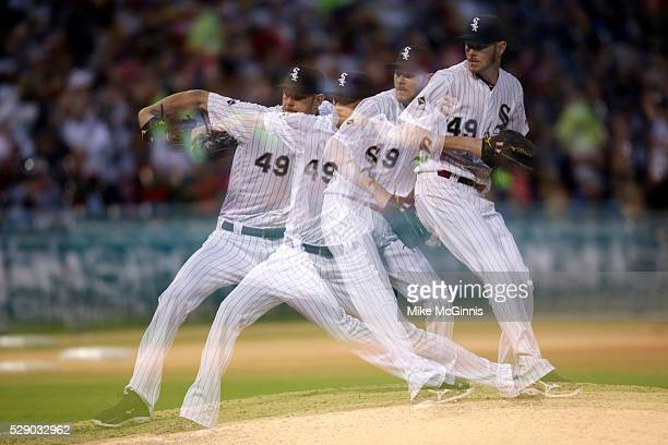 Chris Sale of the White Sox pitches during the sixth inning against the Minnesota Twins at US Cellular Field on May 07 2016 in Chicago Illinois