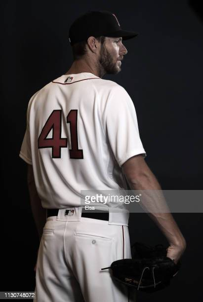 Chris Sale poses for a portrait during Boston Red Sox Photo Day at JetBlue Park at Fenway South on February 19 2019 in Fort Myers Florida