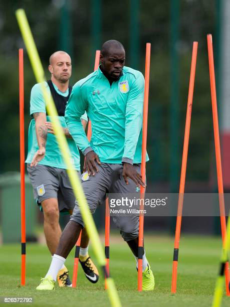 Chris Samba of Aston Villa in action during a Aston Villa training session at the club's training ground at Bodymoor Heath on August 04 2017 in...