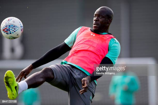 Chris Samba of Aston Villa in action during a training session at the club's training ground at Bodymoor Heath on September 08 2017 in Birmingham...