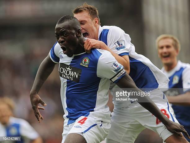 Chris Samba of Blackburn celebrates scoring to make it 1-0 with team mate Phil Jones during the Barclays Premier League match between Blackburn...