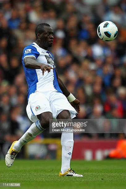 Chris Samba of Blackburn clears the ball during the Barclays Premier League match between Blackburn Rovers and Manchester United at Ewood park on May...