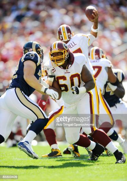 Chris Samuels of the Washington Redskins blocks against the St. Louis Rams at FedEx Field on October 12, 2008 in Landover, Maryland. The Rams...