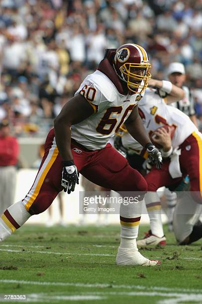 Chris Samuels of the Washington Redskins positions for a block against the Carolina Panthers at Ericsson Stadium on November 16, 2003 in Charlotte,...