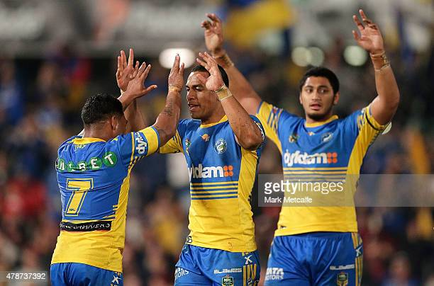 Chris Sandow and Will Hopoate of the Eels celebrate victory in the round 16 NRL match between the Parramatta Eels and the St George Illawarra Dragons...