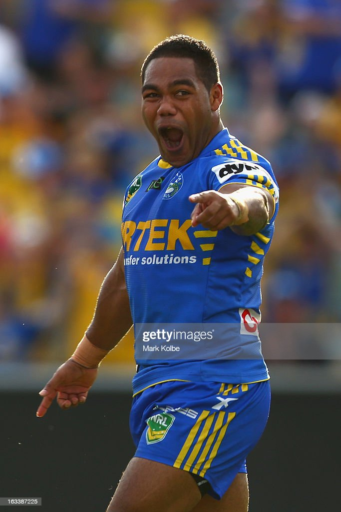 Chris Sandow of the Eels celebrates scoring a try during the round one NRL match between the Parramatta Eels and the Warriors at Parramatta Stadium on March 9, 2013 in Sydney, Australia.