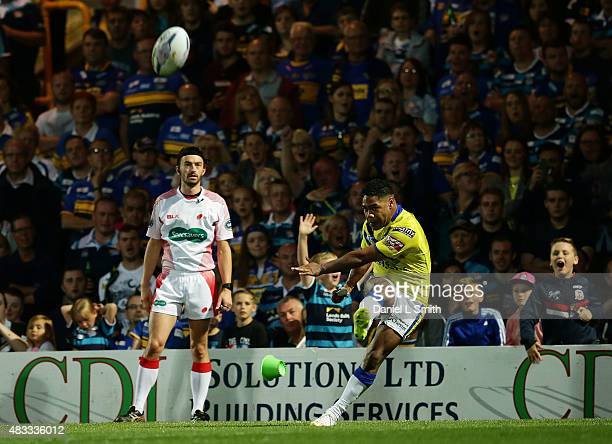 Chris Sandow of Warrington Wolves attemps a conversion during the Round 1 match of the First Utility Super League Super 8s between Leeds Rhinos and...