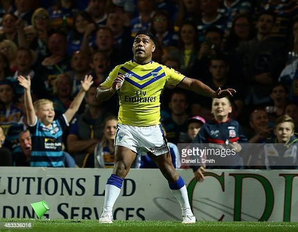 Chris Sandow of Warrington Wolves looks on after an attemp at conversion during the Round 1 match of the First Utility Super League Super 8s between...
