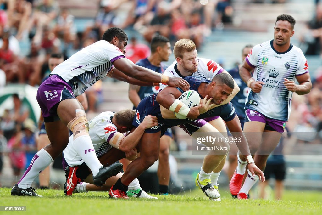 Chris Satae of the Warriors charges forward during the NRL trial match between the New Zealand Warriors and the Melbourne Storm at Rotorua International Stadium on February 17, 2018 in Rotorua, New Zealand.