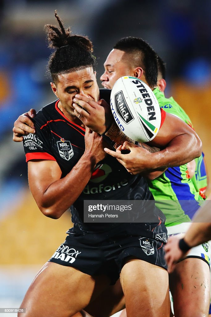 Chris Satae of the Warriors loses the ball forward during the round 23 NRL match between the New Zealand Warriors and the Canberra Raiders at Mt Smart Stadium on August 13, 2017 in Auckland, New Zealand.