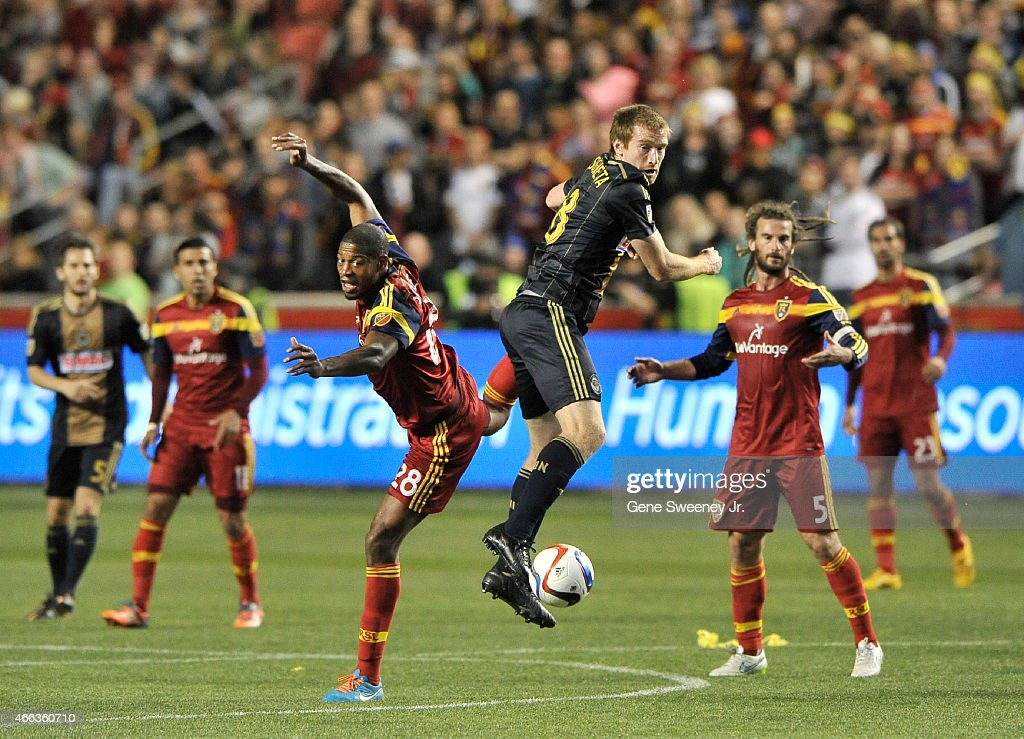 Chris Schuler #28 of Real Salt Lake and Fernando Aristeguieta #18 of the Philadelphia Union miss the ball during the first half of their game at Rio Tinto Stadium on March 14, 2015 in Sandy, Utah.