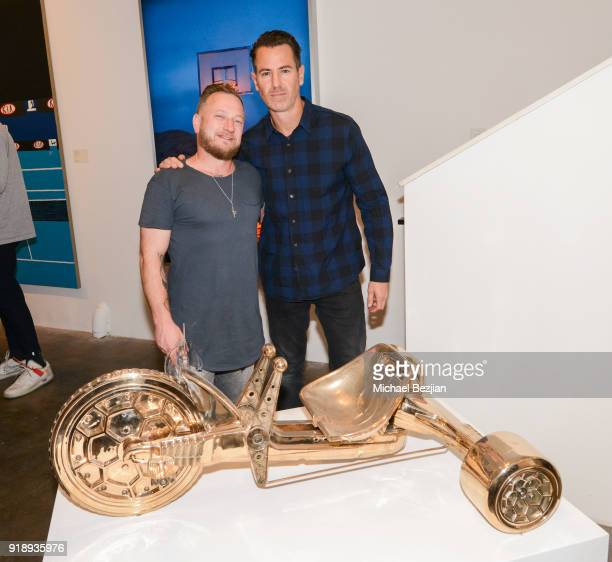 Chris Schultz and Joseph Gross at Amare Stoudemire hosts ART OF THE GAME art show presented by Sotheby's and Joseph Gross Gallery on February 15 2018...