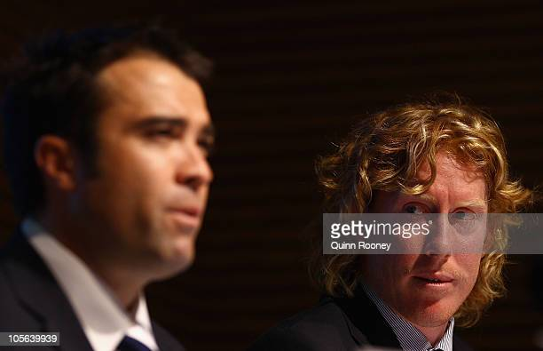 Chris Scott and Cameron Ling the captain of the Cats speak to the media after Scott was announced as the new coach of the Cats during a Geelong Cats...