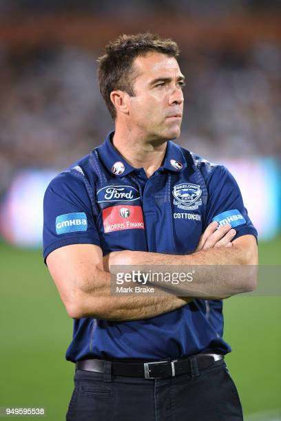 Chris Scott coach of Geelong during the round five AFL match between the Port Adelaide Power and the Geelong Cats at Adelaide Oval on April 21 2018...