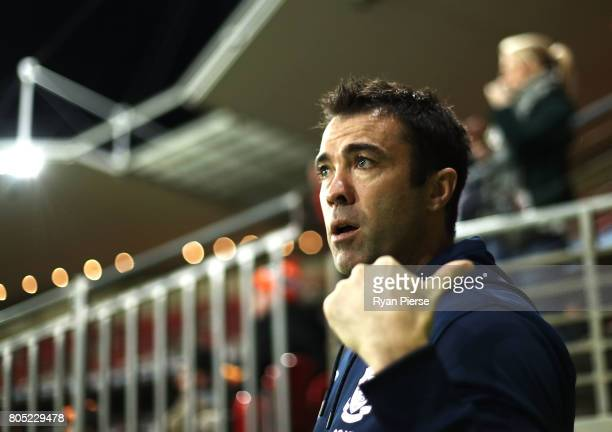 Chris Scott coach of Geelong looks on during the round 15 AFL match between the Greater Western Sydney Giants and the Geelong Cats at Spotless...
