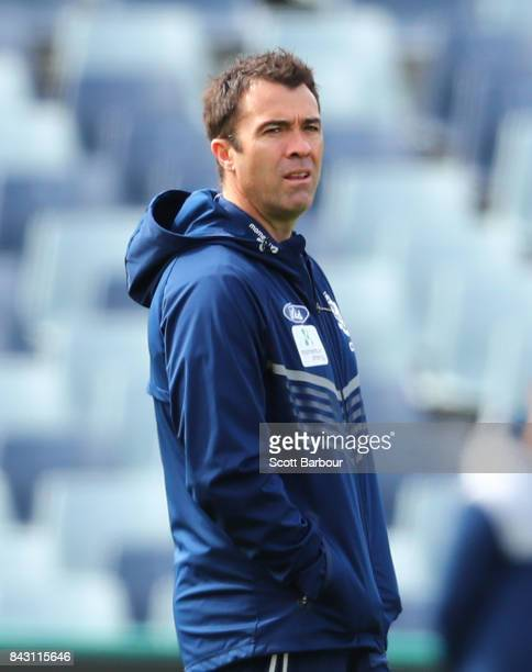 Chris Scott coach of the Cats looks on during a Geelong Cats AFL training session at Simonds Stadium on September 6 2017 in Geelong Australia
