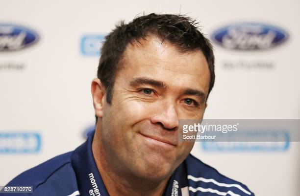Chris Scott coach of the Cats speaks to the media during a Geelong Cats AFL training session at Simonds Stadium on August 10 2017 in Geelong Australia