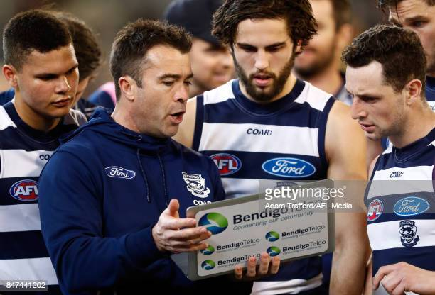 Chris Scott Senior Coach of the Cats addresses his players during the 2017 AFL Second Semi Final match between the Geelong Cats and the Sydney Swans...