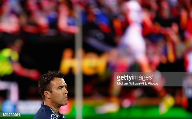 Chris Scott Senior Coach of the Cats looks on during the 2017 AFL First Preliminary Final match between the Adelaide Crows and the Geelong Cats at...