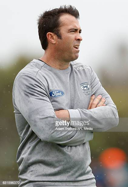 Chris Scott Senior Coach of the Cats looks on during the Geelong Cats training session at Deakin University Waurn Ponds on January 13 2017 in Geelong...