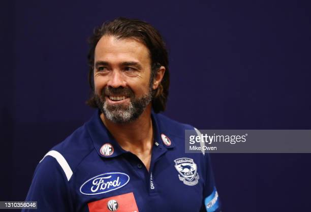 Chris Scott, senior coach of the Cats talks to the media during a Geelong Cats AFL training session at GMHBA Stadium on April 02, 2021 in Geelong,...