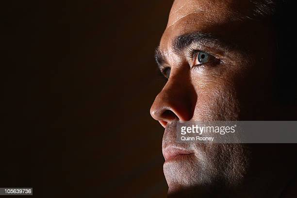 Chris Scott speaks to the media after being announced as the new coach of the Cats during a Geelong Cats press conference at Skilled Stadium on...