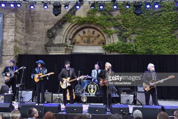Chris Scruggs, Kenny Vaughan, Roger McGuinn, Harry Stinson, Marty Stuart, and Chris Hillmam perform during the Sweetheart of the Rodeo Reunion at The...