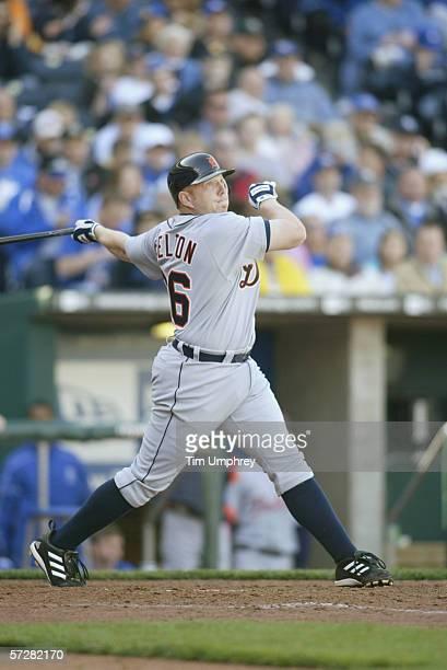 Chris Shelton of the Detroit Tigers bats against the Kansas City Royals on April 3 2006 at Kauffman Stadium in Kansas City Missouri The Tigers won 31
