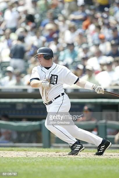 Chris Shelton of the Detroit Tigers bats during the game against the Baltimore Orioles at Comerica Park on June 5 2005 in Detroit Michigan The...