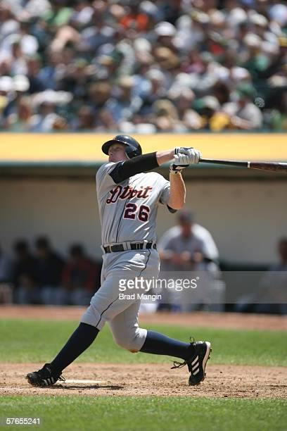 Chris Shelton of the Detroit Tigers bats during the game against the Oakland Athletics at the Network Associates Coliseum in Oakland California on...