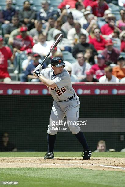 Chris Shelton of the Detroit Tigers bats during the game against the Los Angeles Angels of Anaheim at Angel Stadium in Anaheim California on April 26...