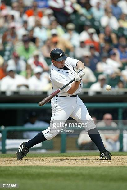Chris Shelton of the Detroit Tigers bats during the game against the New York Yankees at Comerica Park in Detroit Michigan on May 29 2006 The Yankees...
