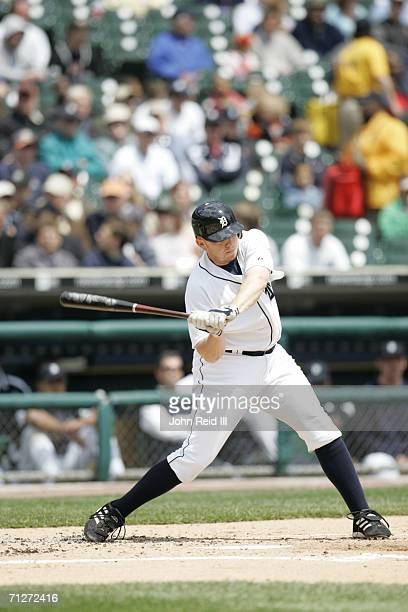Chris Shelton of the Detroit Tigers bats during the game against the Minnesota Twins at Comerica Park in Detroit Michigan on May 18 2006 The Tigers...
