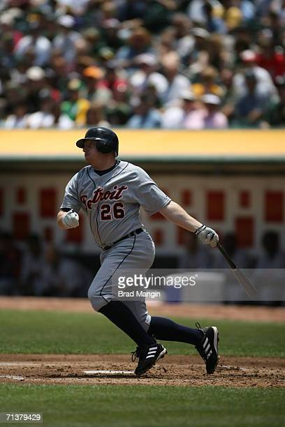 Chris Shelton of the Detroit Tigers bats during the game against the Oakland Athletics at the McAfee Coliseum in Oakland California on July 5 2006...