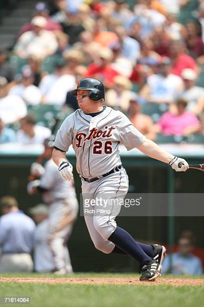Chris Shelton of the Detroit Tigers batting during the game against the Cleveland Indians at Jacobs Field in Cleveland Ohio on July 26 2006 The...