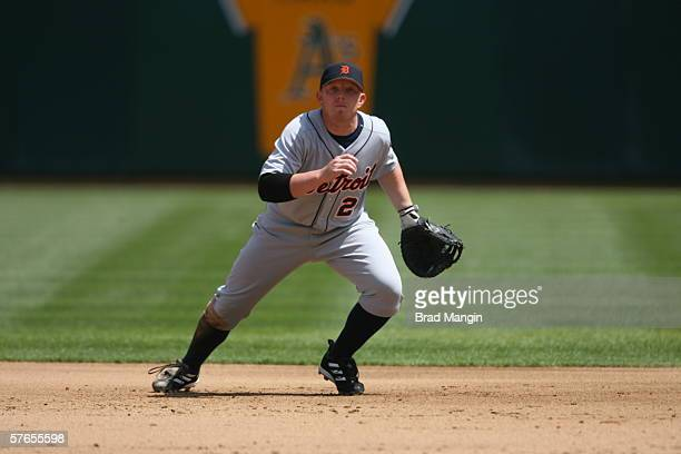 Chris Shelton of the Detroit Tigers fields during the game against the Oakland Athletics at the Network Associates Coliseum in Oakland California on...