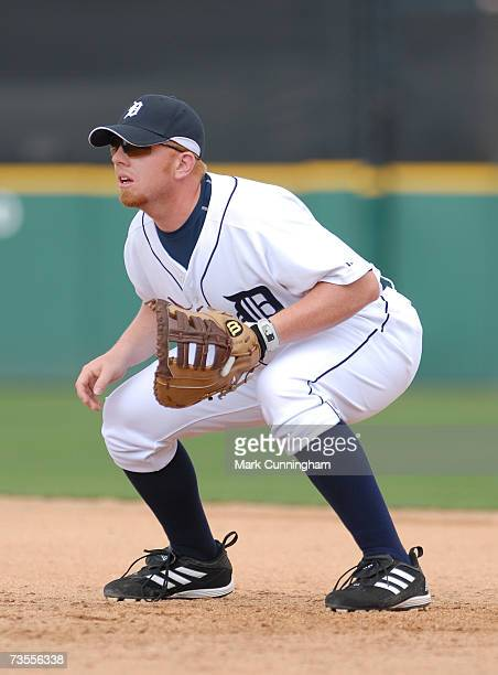 Chris Shelton of the Detroit Tigers fields during the game against the Boston Red Sox at Joker Marchant Stadium in Lakeland Florida on March 10 2007...