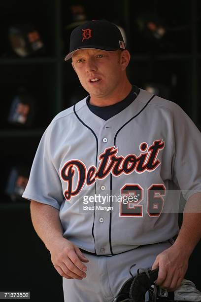 Chris Shelton of the Detroit Tigers gets ready before the game against the Oakland Athletics at the McAfee Coliseum in Oakland California on July 4...