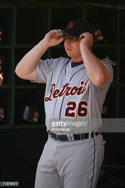Chris Shelton of the Detroit Tigers gets ready before the game against the Oakland Athletics at the McAfee Coliseum in Oakland California on July 5...