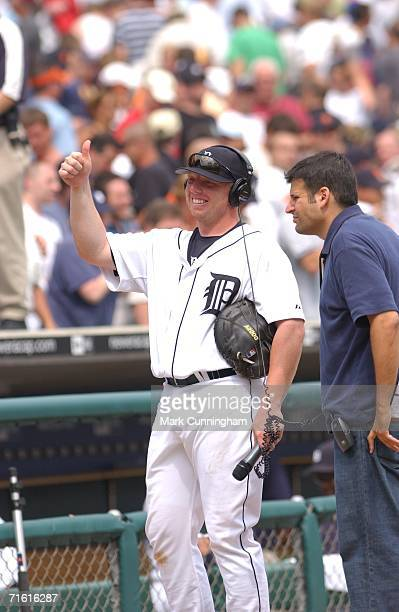 Chris Shelton of the Detroit Tigers gives the thumbsup after being named player of the game during the game against the Chicago White Sox at Comerica...