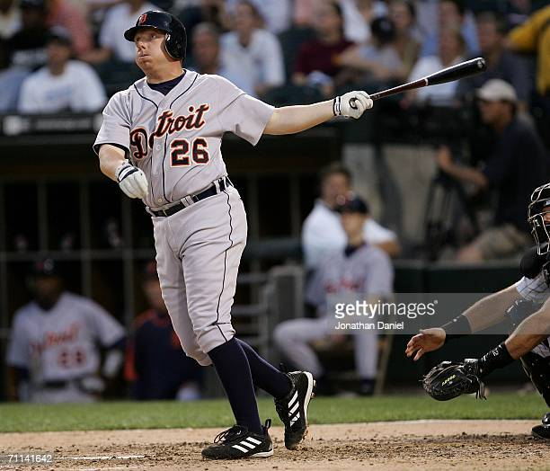 Chris Shelton of the Detroit Tigers hits a solo home run in the 4th inning against the Chicago White Sox on June 6 2006 at US Cellular Field in...