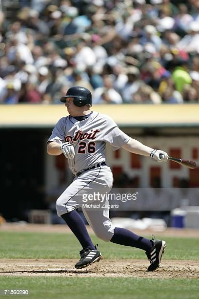 Chris Shelton of the Detroit Tigers hits against the Oakland Athletics at McAfee Coliseum in Oakland California on July 4 2006 The Athletics defeated...